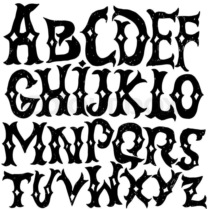799x800 Antique Alphabet. Gothic Letters. Vintage Hand Drawn Font. Western