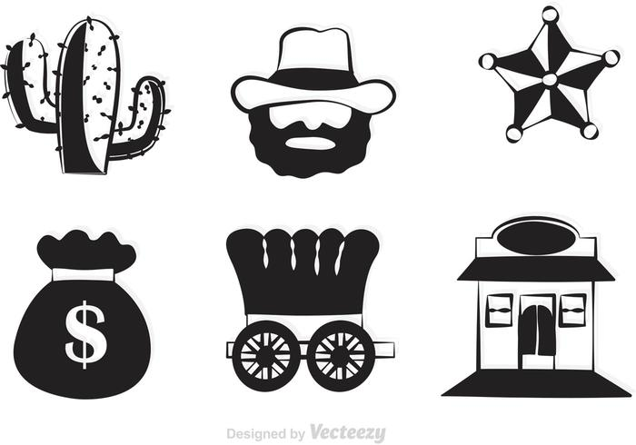 700x490 Black Western Vector Icons