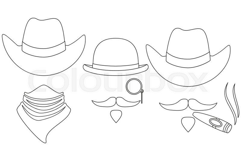 800x534 Line Art Black And White 3 Western Cowboy Avatar Set. Wild West