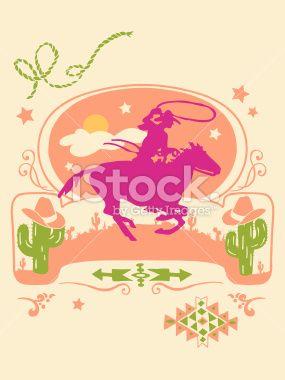 285x380 Vector Illustration Of Western Poster. Vector Art