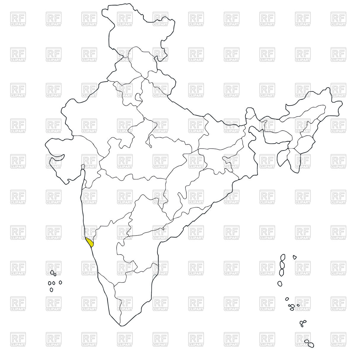 1200x1200 Western State Goa On The Map Of India Vector Image Vector