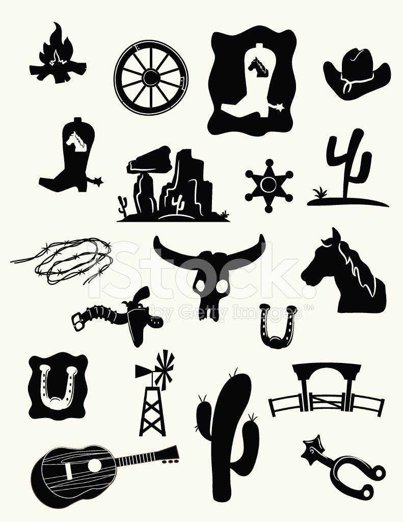 791x1024 Wild West Icons Stock Vector