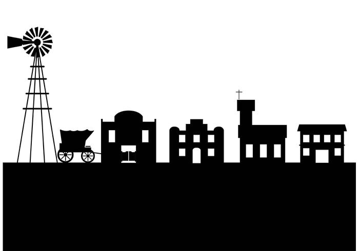 700x490 Old West Town Silhouette