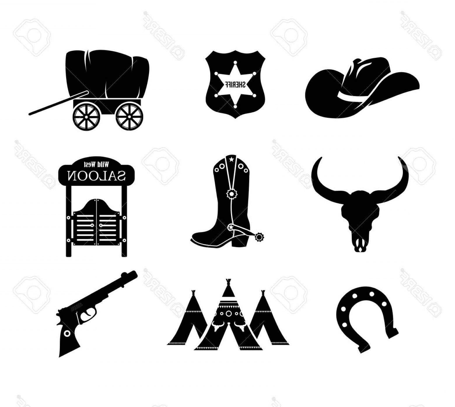 1560x1393 Photostock Vector Cowboy Western Wild West Vector Icon Set