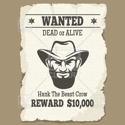 400x400 Wanted Dead Or Alive Icon, Vintage Western Poster With Cowboy Face
