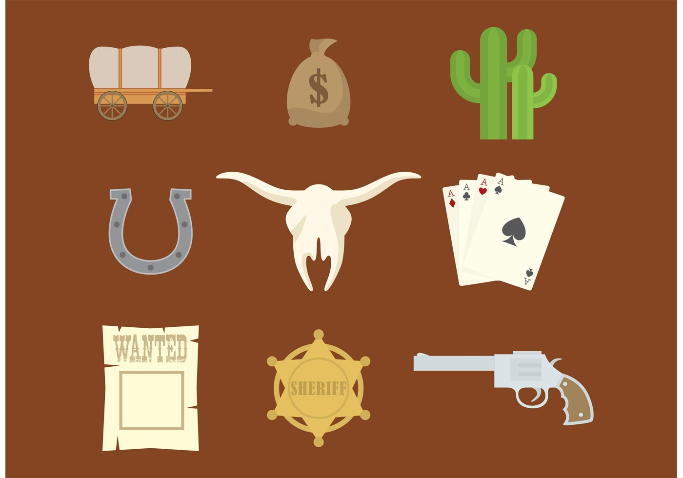 1400x980 Western Vector Icons