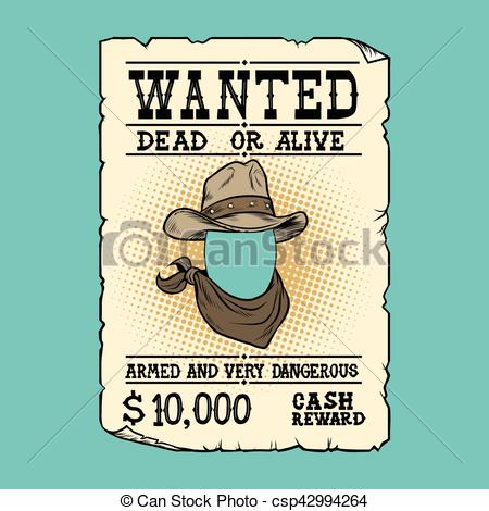 450x470 Western Ad Wanted Dead Or Alive, Pop Art Retro Vector Illustration.