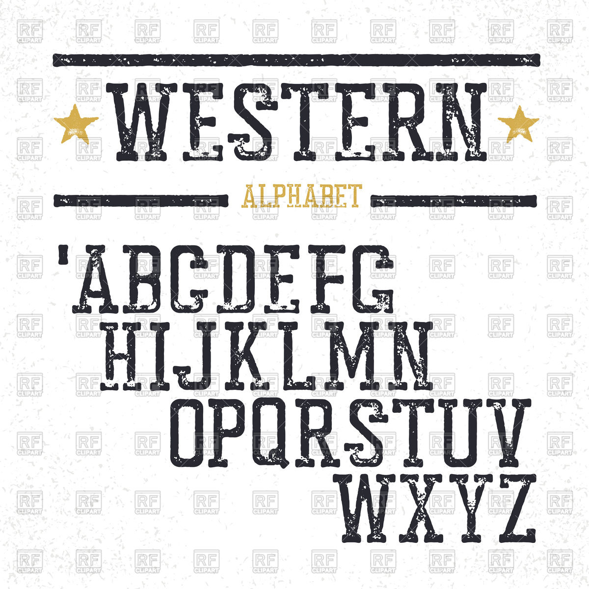 1200x1200 Western Alphabet, Letters In Grunge Style Vector Image Vector