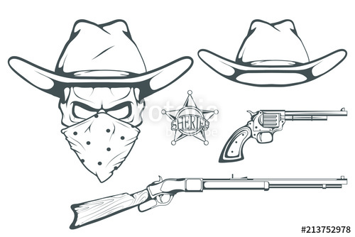 500x334 Cowboy Set For Design. Hand Drawn Cowboy Hat. Cartoon Character