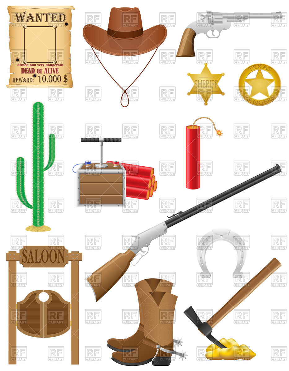 933x1200 Western Set Icons Wild West Vector Illustration Isolated On White