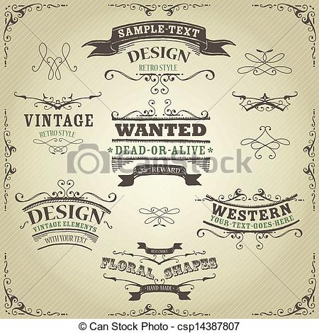 450x470 Hand Drawn Western Banners And Ribbons. Illustration Of A Set Of