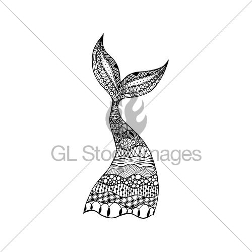 500x500 Vector Hand Drawn Ornamental Mermaid Tail, Whale Tail. Co... Gl
