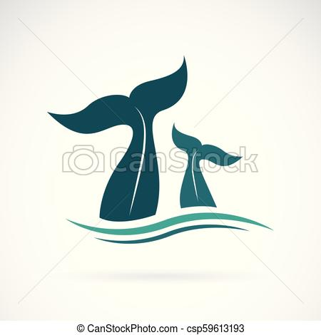 450x470 Vector Of Whale Tail Design On White Background. Animals. Sea
