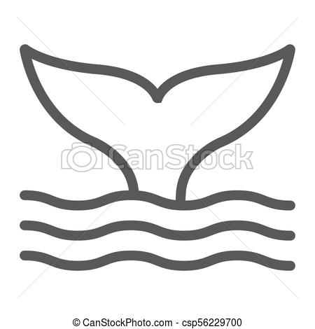 450x470 Whale Tail Line Icon, Animal And Underwater, Aquatic Sign Vector
