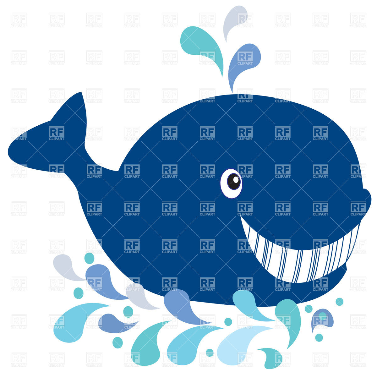 1200x1200 Cute Cartoon Smiling Whale With Fountain Vector Image Vector