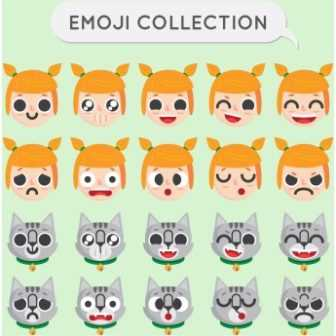 336x336 Free Vector Whats App Girls And Cats Emoji Collection