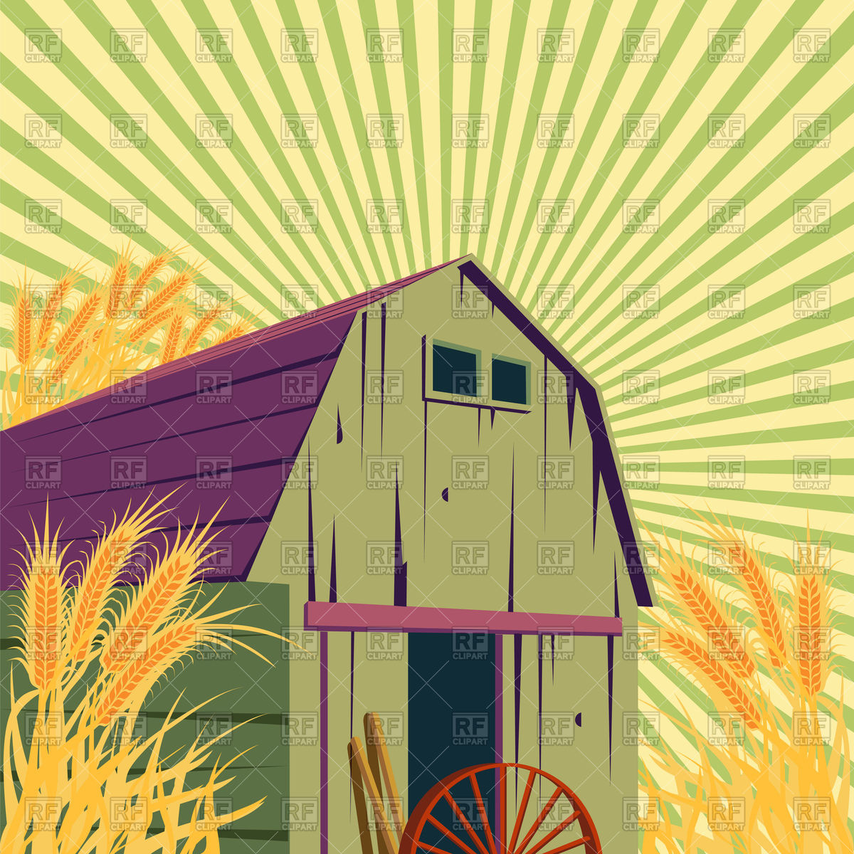 1200x1200 Farm Rural Scene With Barns And Wheat Field Vector Image Vector