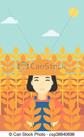 291x470 Farmer In Wheat Field Vector Illustration. An Asian Female Farmer