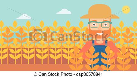450x255 Man In Wheat Field. A Hipster Man With The Beard Standing In A