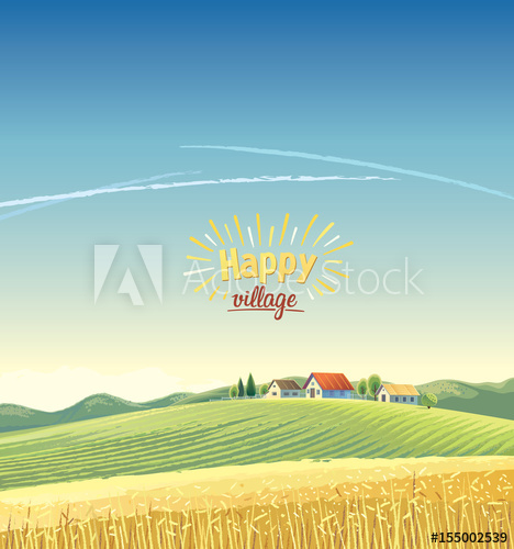 468x500 Rural Landscape With Village On The Hill And Wheat Field. Vector