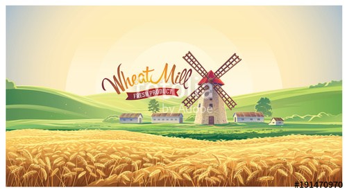 500x277 Rural Summer Landscape With Windmill And Wheat Field. Vector