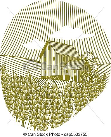 380x470 Wheat Field. Woodcut Style Illustration Of A Wheat Field With A