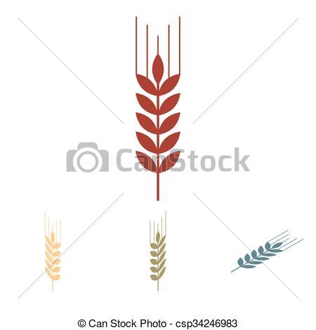 450x470 Wheat Vector Icon Set. Isometric Effect. Wheat Icon Set. Vector