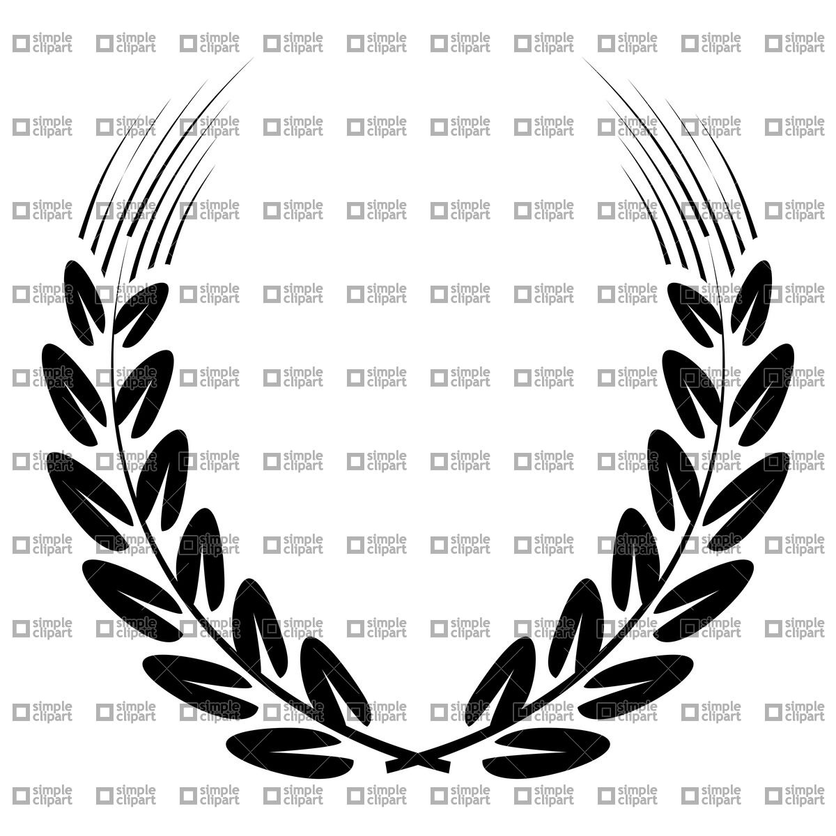 1200x1200 Black Wreath Made Of Ear Of Wheat Vector Image