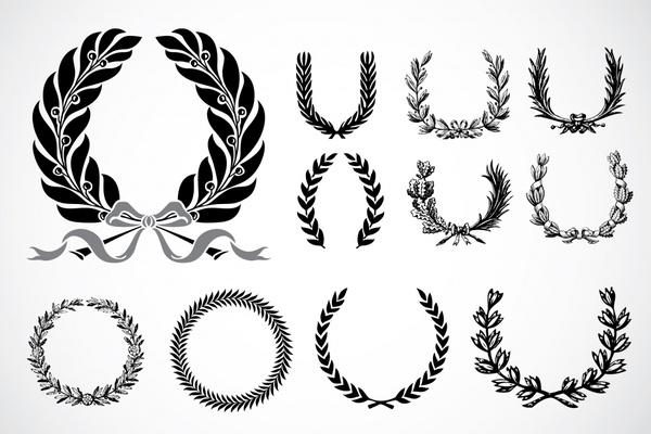 600x400 Wreath Icons Classical Black White Symmetric Circle Decor Free