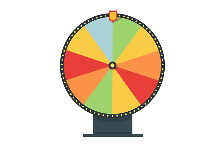 720x480 Fortune Wheel In Flat Style. Blank Template. Game Money, Winner