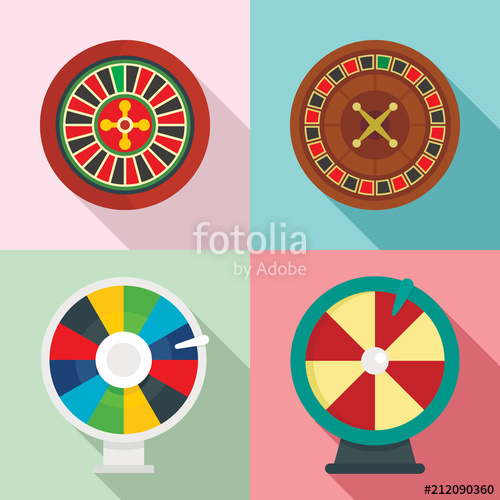 500x500 Roulette Wheel Fortune Icons Set. Flat Illustration Of 4 Roulette