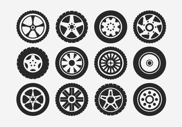 700x490 Hubcap Tire And Wheel Icons Set