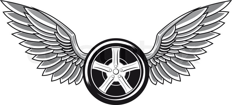 800x362 Wheel Tyre With Wings For Tattoo And Racing Design Stock Vector