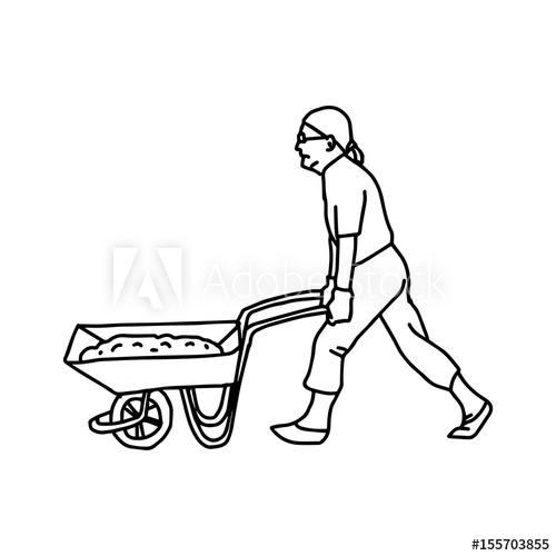 500x500 Construction Worker Pushing A Wheelbarrow