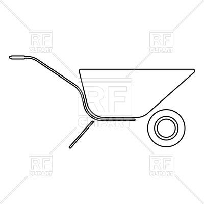 400x400 Wheelbarrow Cart Line Icon Vector Image Vector Artwork Of