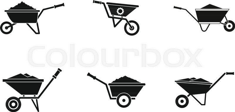 800x383 Wheelbarrow Icon Set. Simple Set Of Wheelbarrow Vector Icons For