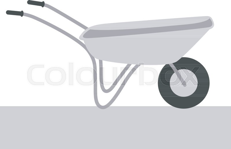 800x519 Wheelbarrow Vector Illustration Flat Style Profile Side Stock