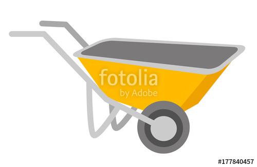500x325 Yellow Wheelbarrow Vector Cartoon Illustration Isolated On White