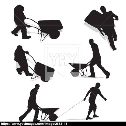 512x512 Construction Workers With Wheelbarrow Vector