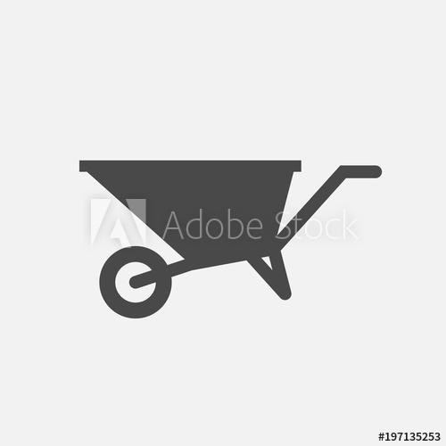 500x500 Wheelbarrow Vector Icon Labor Equipment