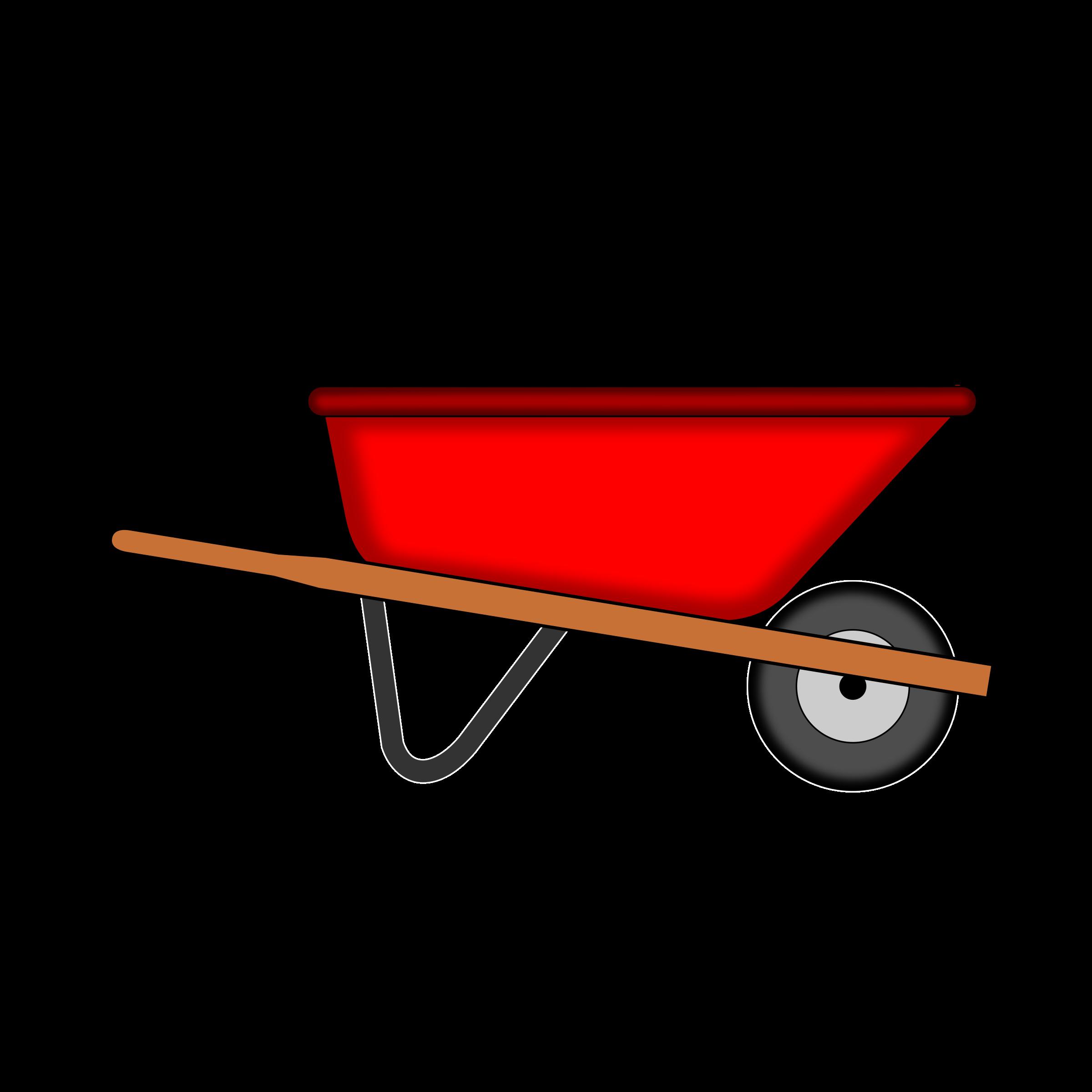 2400x2400 Red Wheelbarrow Vector Clipart Image