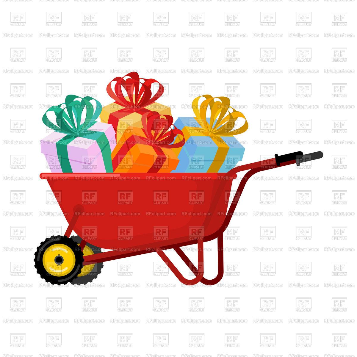 1200x1200 Santa Claus Wheelbarrow And Gifts Vector Image Vector Artwork Of
