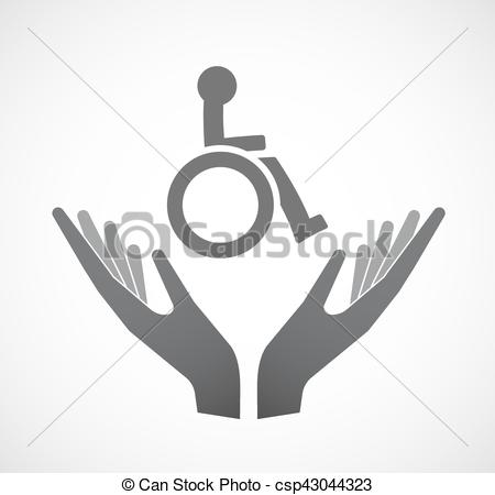 450x450 Isolated Hands Offering A Human Figure In A Wheelchair Icon