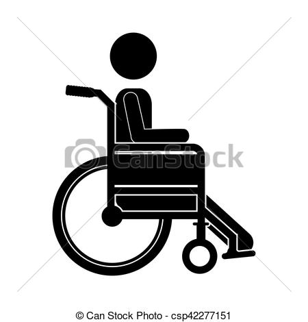 450x470 Person Sitting Wheelchair Flat Icon Vector Illustration.