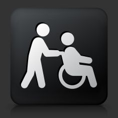 235x235 Black Square Button With Wheelchair Caregiver Icon Vector Art