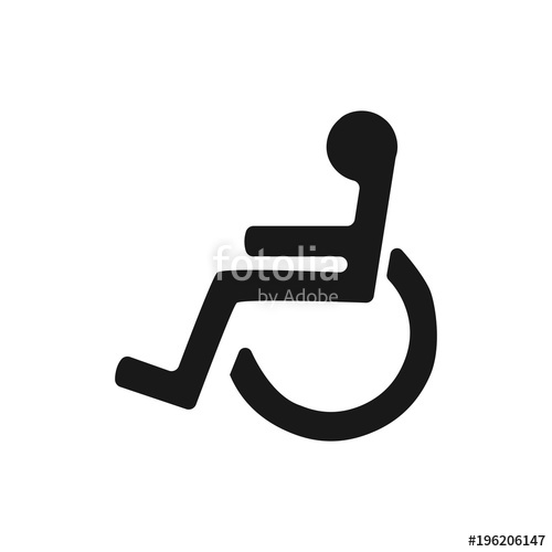 500x500 Disabled Wheelchair Icon. Disable Symbol Logo, Isolated On White
