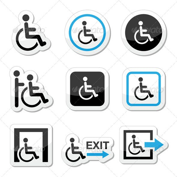 590x590 Man On Wheelchair, Disabled, Emergency Exit Icons