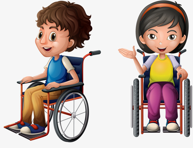 650x499 Vector Hand Painted Children In A Wheelchair, Vector, Hand Painted