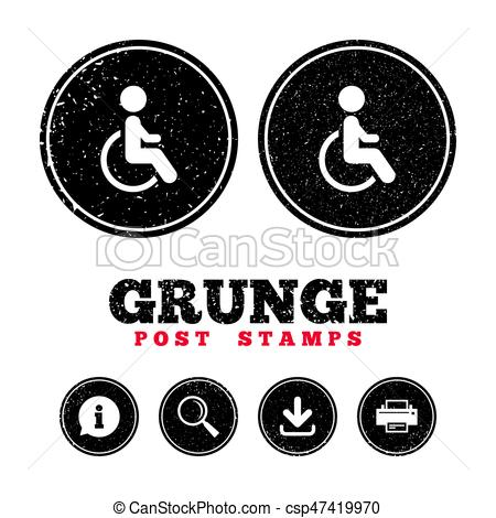 450x470 Grunge Post Stamps. Disabled Sign Icon. Human On Wheelchair Symbol