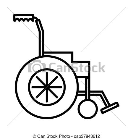 450x470 Wheelchair Icon, Outline Style. Wheelchair Icon In Outline Style